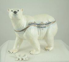 Enameled Pewter Large Bejeweled Trinket Box with Brooch/Pin - Large Polar Bear