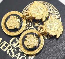 GIANNI VERSACE Medusa Dangle Earrings Black & White Enamel Gold Clips #663