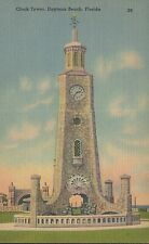 Vintage Linen Postcard Clock Tower Daytona Beach Florida 1940s - 1950s