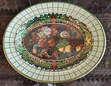 Vintage Collectible Daher Tin Tray Green & Gold Fruit Pattern Made in England