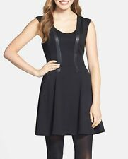 Jessica Simpson Dress Sz 4 Black Faux Leather Ponte Fit & Flare Career Cocktail
