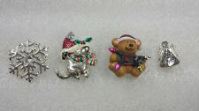 Vintage Mixed Brooch Pins Christmas Theme Bear Snowflake Cat Angel 4 Piece Set