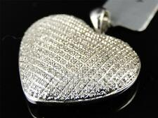 White Gold Finish Ladies Puffed Heart Pave Clear Diamond Pendant Charm .52 Ct