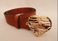 Just Cavalli Gold Heart Herz Ledergürtel Leather Belt Designer Blogger 80cm XS