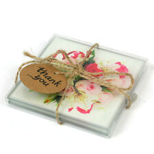 Set of 2 Thank You Flower Glass Coasters Drink Mat Space Gift Present 360630