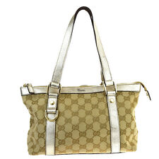 Authentic GUCCI GG Pattern Hand Bag Canvas Leather Beige Silver Italy 01P221
