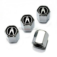 (4) Acura Black Logo Chrome ABS Tire/Wheel Pressure Stem Air Valve CAPS Covers