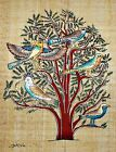"""Egyptian Hand-painted Papyrus Artwork: The Tree of Life 9""""x13"""" Imported Signed"""