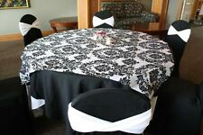 "10 pcs 60"" x 60"" Damask Flocked Flocking Black White Square Tablecloth Overlays"
