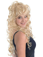 Adult Ladies Blonde Curly Hair Wig Dolly Parton Punk Rock Chick Fancy Dress New