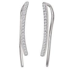 NEW 14K WHITE GOLD DIAMOND CURVED BAR HOOK EARRINGS