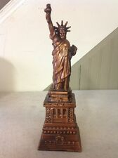 "VINTAGE STATUE OF LIBERTY 10"" KEY OPEN CAST METAL COIN BANK"