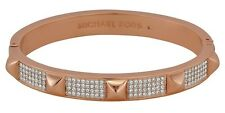 Nwt $145 Michael Kors Pave Studded Rose Gold Bangle Bracelet Glass/Cubic Zirconi