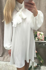 """Esther"" Balloon Sleeves White Tie Neck Pussy Bow Shirt Dress Size 16"