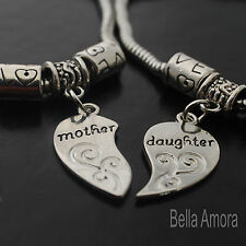 Silver Tone Mother Daughter Heart Charm 2 Piece Set Bracelets Bangles UK -B11