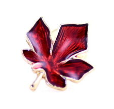 Gold tone red enamel maple leaf brooch, superb Christmas gift Xmas gear
