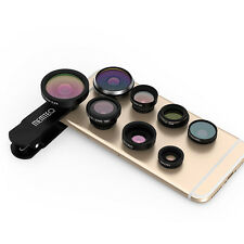 New Black 8in1 Clip-On Fisheye+Wide Angle+Macro Camera Lens for iPhone 6 6S Plus