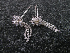 2x Silver White Diamante Flower Hair Pins Art Deco Bridal 1920s Great Gatsby Z58
