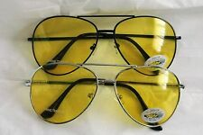 L@@K AVIATOR STYLE METAL FRAMED AMBER LENS NIGHT DRIVING GLASSES SEE AT NIGHT!