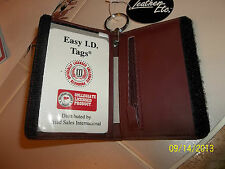 MEN WOMEN EASY ID TAGS LEATHER  Credit Card KEY RING WALLET New