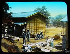 GLASS MAGIC LANTERN SLIDE A FARM C1920 JAPANESE JAPAN