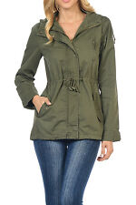 Womens Versatile Military Safari Utility Anorak Street Fashion Hoodie Jacket