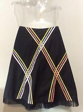 CALI & BLU Anthropologie~Black A Line Skirt Ric Rac Ribbon Sequin Design- Size 4