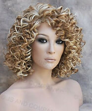 Human Hair Blend wig Short Corkstrew Very Curly Blonde mix Heat Safe mel 27-613