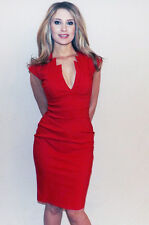 Stunning Amy Childs Lipsy Size 10 Red Bodycon Midi Pencil Dress Party RP£65
