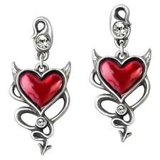 ALCHEMY DEVIL HEART PEWTER RED ENAMEL EARRINGS GOTHIC  HORNS TAIL +FREE GIFT BOX