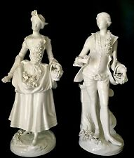Antique German Dresden Early Meissen Pair Of Blanc Porcelain Figurines 1756-80s