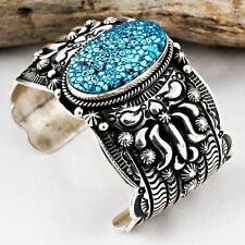 A+ Darryl Becenti Navajo KINGMAN Turquoise Bracelet Sterling Silver Old Pawn