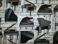 PIANO GRAND MUSIC NOTES BLACK WHITE COTTON FABRIC BTHY