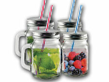 8 x CLEAR MASON JAM JARS DRINKING SUMMER COCKTAIL JAR HANDLE WITH STRAWS 450ML