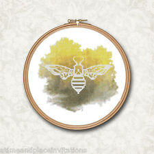 Silhouette Bee Watercolor Black and Yellow Counted Cross Stitch Pattern
