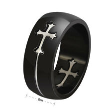 Sz7-14 Stainless Steel Cross Black Titanium Ring Jesus Church Wedding Cocktail