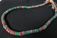 Antike Glasperlen grüne Chevron Mix Old Venetian African trade beads Afrozip
