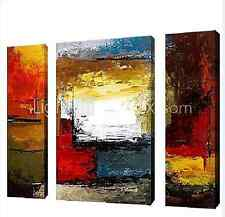 3 pieces Large Modern hand-painted Art Oil Painting Wall Decor canvas golden