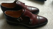 Magnanni Double Monk Strap Mid Brown Leather Loafer Shoes Mens Size 9M MSRP 495