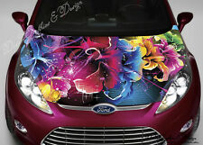 Abstract Flowers Full Color Graphic Adhesive Vinyl Sticker Fit Car Bonnet #026