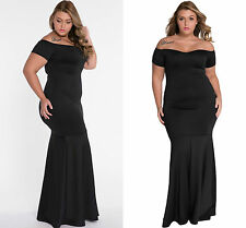 Ladies Black Off Shoulder Fishtail Maxi Dress Prom Gown Evening size 18-20