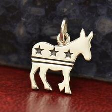 925 Sterling Silver Democrat Donkey Charm - Political Liberal Pendant NEW