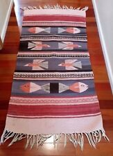 "Vtg Southwest Motif Carpet Runner Rug 29"" X 54"" Bird and Fish Design"