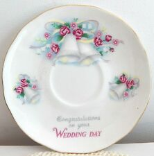 DUCHESS BONE CHINA ENGLAND EST. 1888 SAUCER CONGRATULATIONS ON YOUR WEDDING DAY