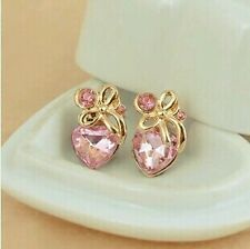 Hot New Fashion Korean love pink crystal bow earrings