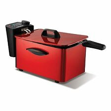 Morphy Richards ROSSO Deep Fat Chip Friggitrice-PROFESSIONALE IN ACCIAIO INOX 3L 45083
