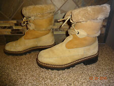 Vintage Womens Blondo Sz 8B Tan Suede Leather Genuine Shearling Winter Boots