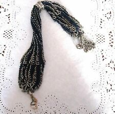 ANTIQUE VICTORIAN CUT STEEL BEADED KNITTED MISERS STOCKING PURSE C 1840
