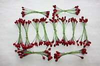 288 x RED PLASTER HOLLY BERRIES 6mm DOUBLE ENDED WIRED STEMS CHRISTMAS CRAFT