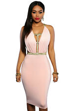 New Gold Strap Pink Midi Cocktail Celeb Party Dress, Size 8-10, ***UK Seller***